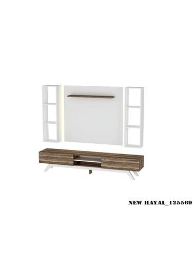 Sanal Mobilya Hayal 125569 Tv Ünitesi Leon Ceviz/Parlak Beyaz Beyaz